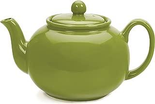 RSVP Large Stoneware Chai Teapot -Microwave & Dishwasher Safe - 42 oz - Green