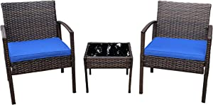 Pyramid Home Decor Nista Patio Bistro Set 3-Piece Outdoor Furniture - Modern Rattan Garden, Backyard and Balcony Chair with Thick Cushions and Glass Top Coffee Table (Dark Blue)