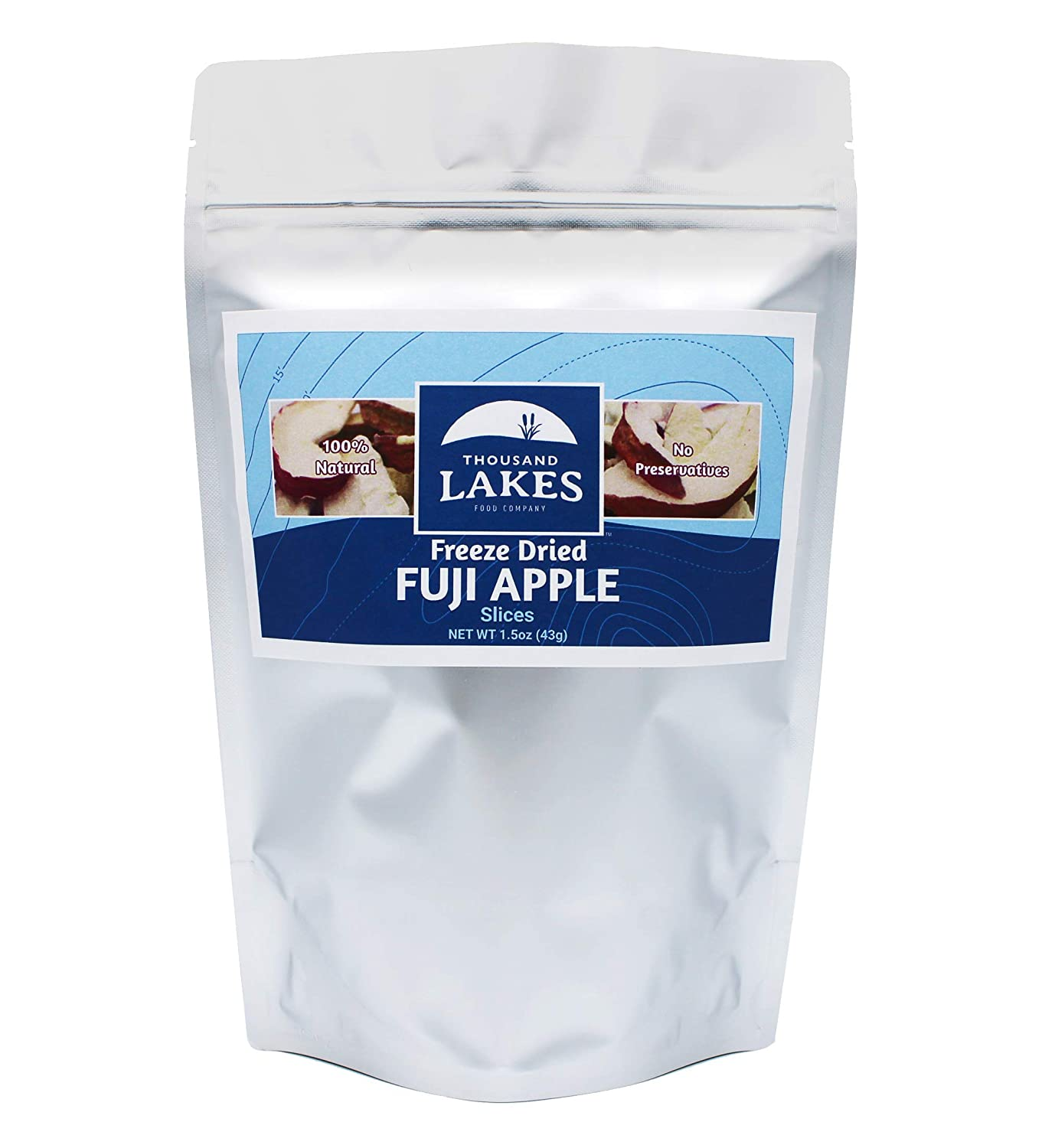 Thousand Lakes Freeze Dried Fruits and Vegetables - Fuji Apples 1.5 ounces | No Sugar Added | 100% Sliced Apples with Peel