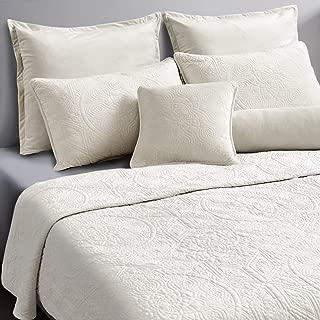 Maison Atlas Velvet Quilt Set, Charlotte Premium Heavy Velvet Collection, Cotton Backing, Cotton Batting, King, Pearl White