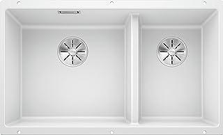 Blanco 鉑浪高,523155 SUBLINE 430/270-U,臺面下水槽 / SILGRANIT PuraDur,白色,左側為主水槽,帶 InFino 排水系統 - 無排水控制,水槽寬度:430/270 毫米