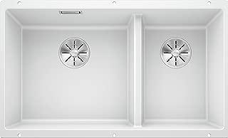 Blanco 铂浪高,523155 SUBLINE 430/270-U,台面下水槽 / SILGRANIT PuraDur,白色,左侧为主水槽,带 InFino 排水系统 - 无排水控制,水槽宽度:430/270 毫米