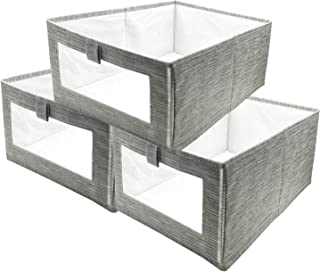 SUPRBIRD Cube de Rangement Pliable, Lot de 3 Boîtes de Rangement en Non-Tissé, Panier de Rangement, Caisse de Rangement av...