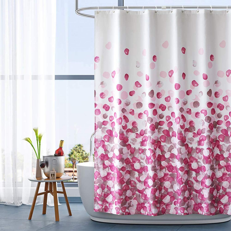 HAOJH Shower Curtains Waterproof Soft Shower Curtain for Bathroom Anti-mildew Washable Polyester Fabric Bath Curtain (Pink, 220 X 200 cm) Pink 220 X 200 cm