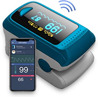 Bluetooth Pulse Oximeter,OLED DisplayFingertip Pulse Oximetry with Perfusion Index, Pulse Rate Monitor Blood Oxygen Saturation Sensor Include Batteries