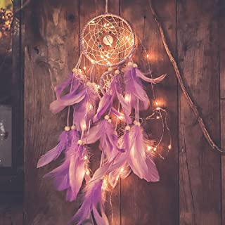Qukueoy Light Up Dream Catchers for Bedroom Wall Hanging Decorations, LED Dreamcatcher Home Ornaments with 20 LED Lights,Fantasy Gifts for Kids, Caught Your Dream Purple