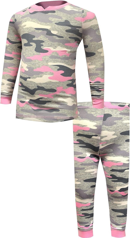 Komar Kids Girls' Pink Camo Super Cozy Long Sleeve Knit Pajamas