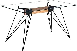 Adec - Rods, Mesa de Comedor, Mesa de Salon o Cocina, Tapa Cristal Templado Transparente y Estructura Metalica en Color Negro, Medidas: 140 cm (Largo) x 80 cm (Ancho) x 76 cm (Alto)