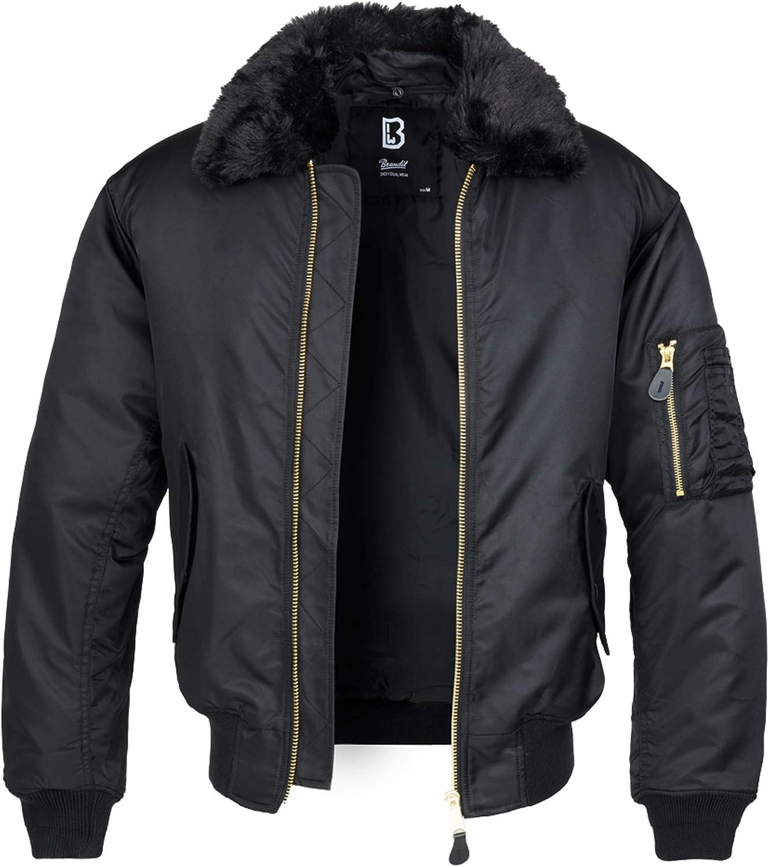 Brandit Men Winter A surprise price is realized Jacket MA2 Fur Collar Spasm price Size:XL Color:Black