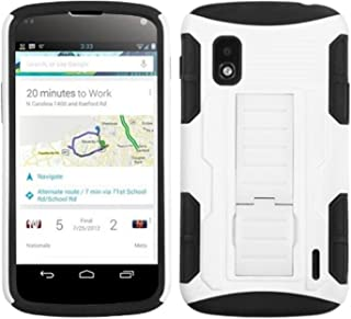 MyBat ALGE960HPCSAAS902NP Advanced Rugged Armor Hybrid Combo Case with Kickstand for LG Nexus 4 E960 - Retail Packaging - White/Black Car