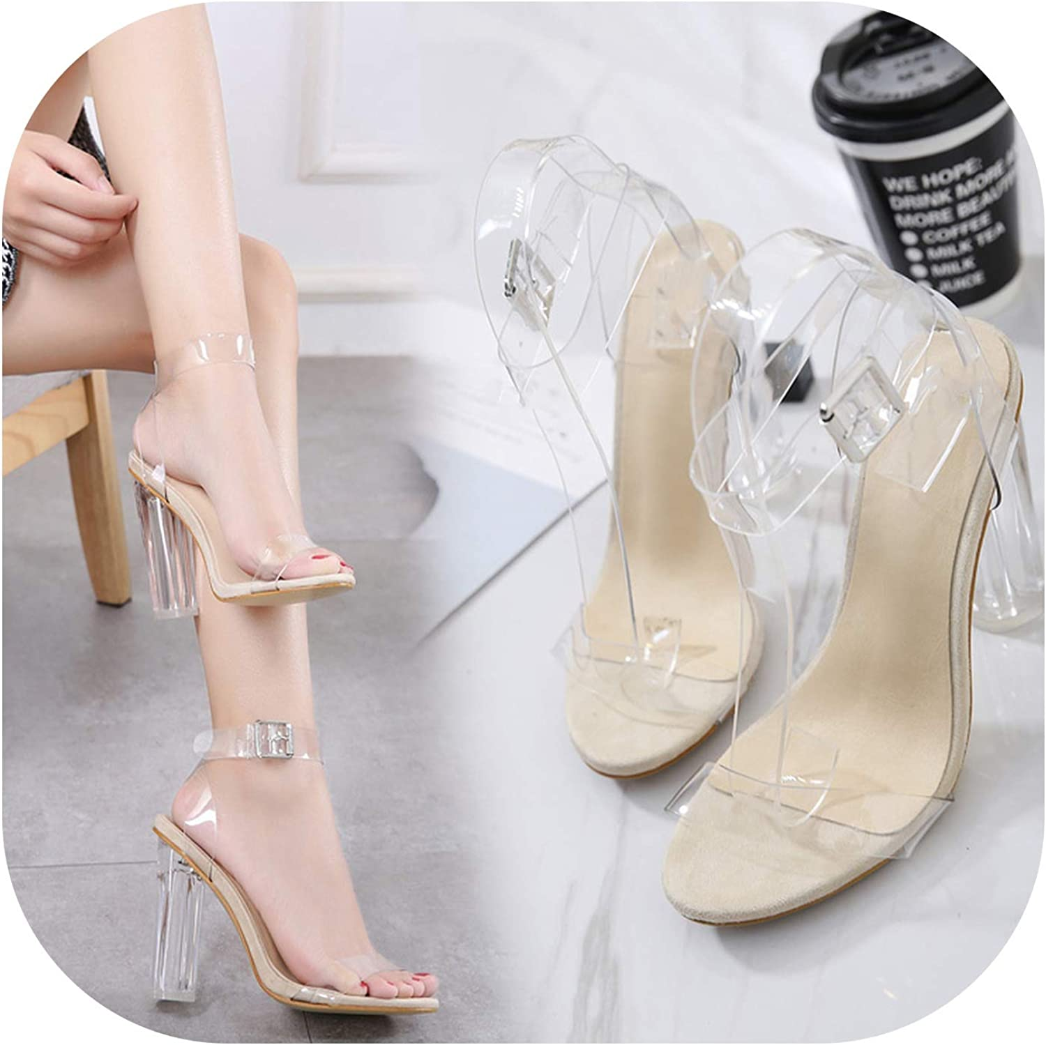Meet at Corner-heeled-sandals Plus Size Ankle Strap Adjustable Buckle Clear Block Chunky High Heel Sandal Open Toe Dress shoes