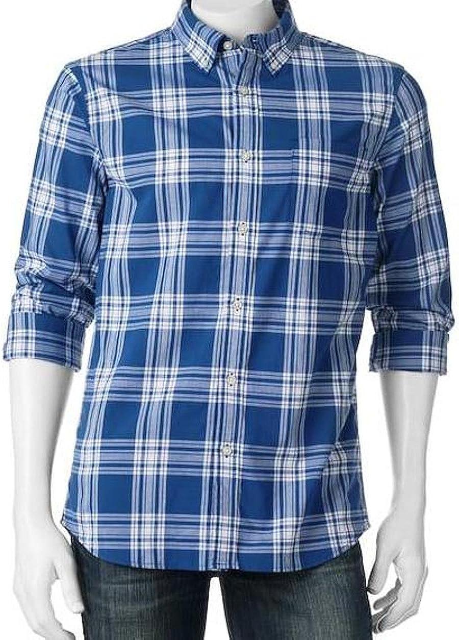 Sonoma Mens Modern Fit Poplin Casual Shirt Western Blue Plaid