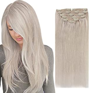 Sunny Clip in Blonde Hair Extensions 20 inch Blonde Clip in Hair Extensions Human Hair Platinum White Blonde Hair Extensio...