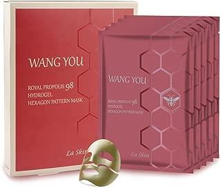La Skin Royal Propolis Hydogel Hexogan Pattern Facial Sheet Mask - 5 Pack Korean Anti-Aging,Anti-Wrinkle Face Mask for Superior Skin Rejuvenation & Wrinkle Improvement