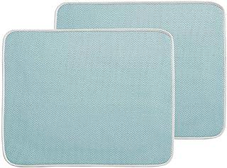 plato y taza Alfombrilla de secado de microfibra para platos de cocina 40 cm x 46 cm escurridor para cristal 2 unidades Soporte azul escurridor absorbente
