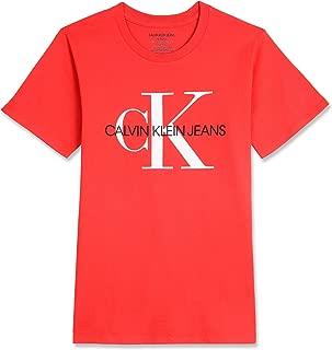 Calvin Klein Boys' Big Classic Logo Print Tee Shirt, Racing red