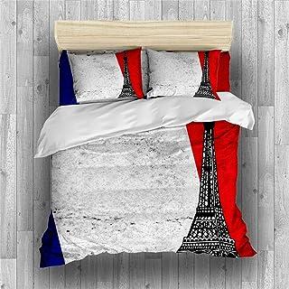 REALIN Fundas Nórdicas Bandera Francesa Juego De Ropa De Cama Bandera Tricolor Colcha 2/3/4PCS Fundas De Edredón Nórdico/Almohada/Sábanas,para Cama 90/135/150/180 (Cama 180/200(220×260cm)-3PCS,A)