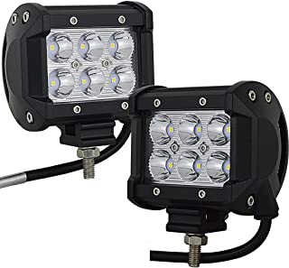 AUXTINGS 2PCS 4 inch 18W Spot LED Work Light Bar LED Off Road 1260LM Worklamp ATV SUV Jeep Mine Boat Lamp