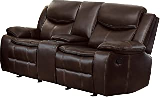 leather reclining loveseat with console