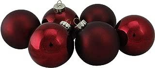 Northlight WY00754 Burgundy Glass Ball Christmas Ornament Set, 3.25