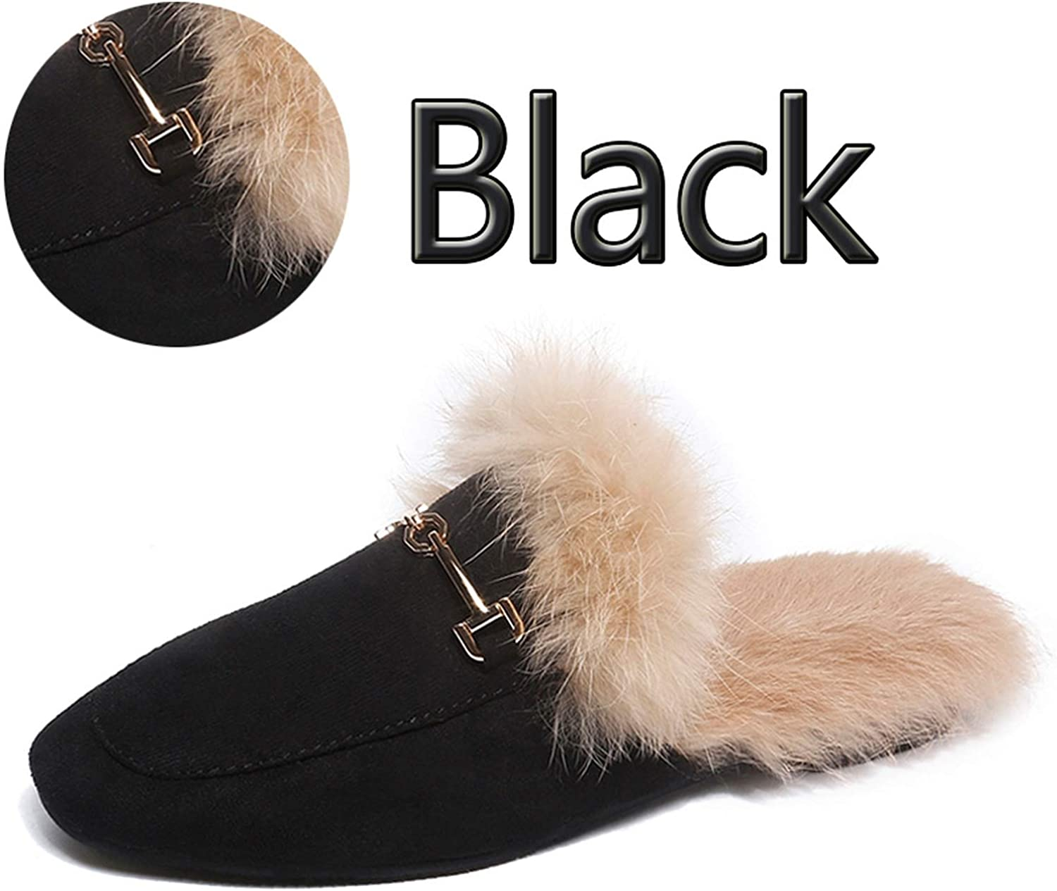 Real Slippers shoes Woman Mules Women's ry Slippers Winter Warm Women shoesRabbit Hair