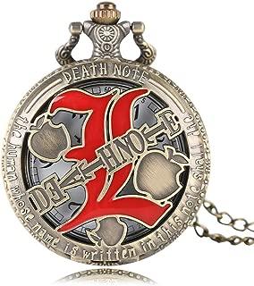 Death Note Pocket Watch Quartz Hollow Pattern Bronze Pocket Watches Necklace Pendant Xmas Gifts