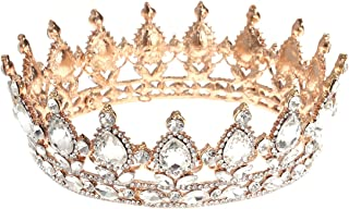 Frcolor Vintage Tiara Crown, Crystal Rhinestone Pageant Queen Crown Tiara Hair Jewelry