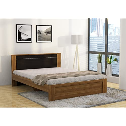 Spacewood Uno Queen Size Engineered Wood Bed (Particle Board - Natural Teak)