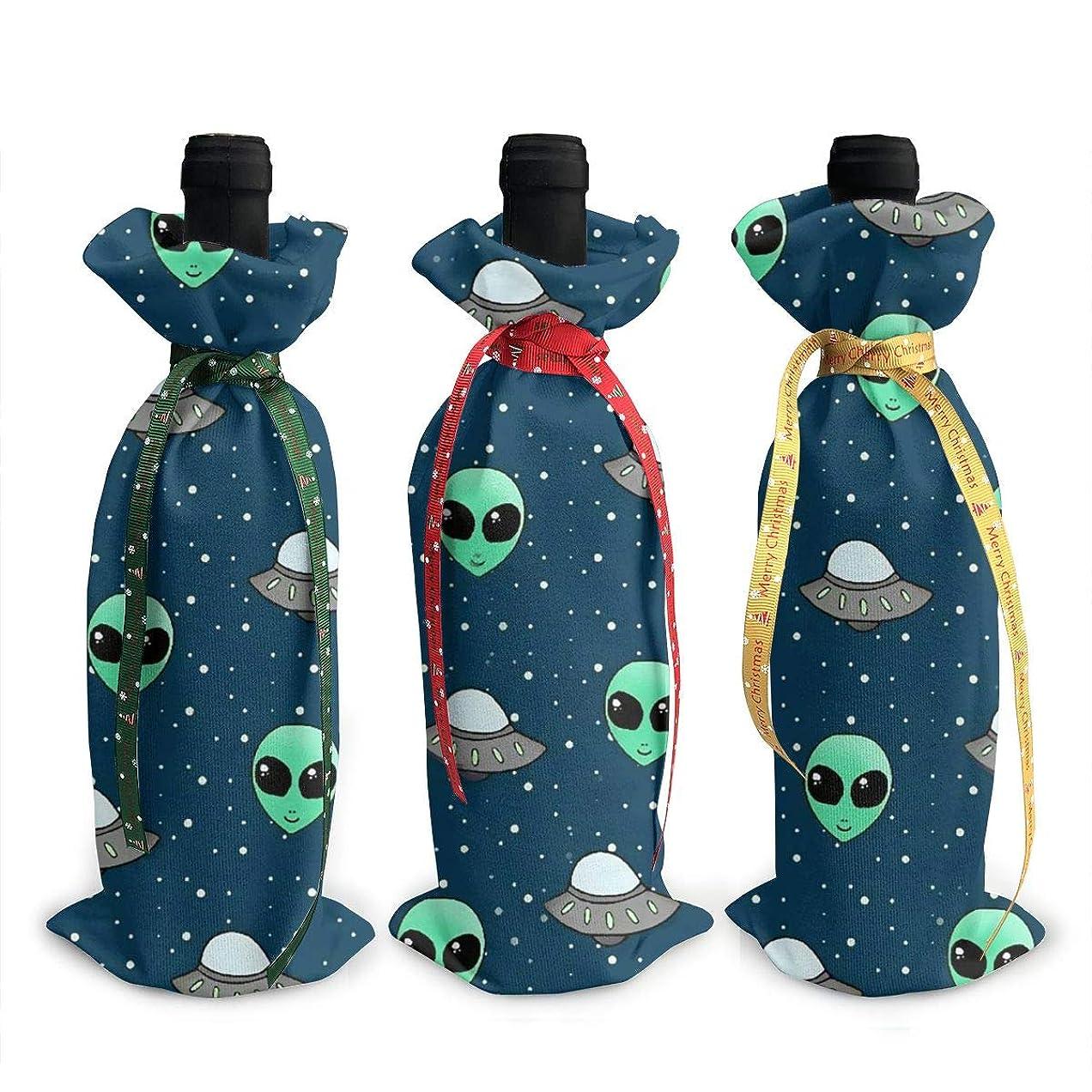 オリエンテーション合唱団ストレスワインバッグ クリスマスボトルカバー エイリアン UFO シャンパンワインボトル3本用 12 X 34cm ワイン収納 3個ーテーマ ボトル装飾 ワインボトル用 かわいいドレス 3種類のデザイン ギフトバッグ 保管用 ギフトパッケージ