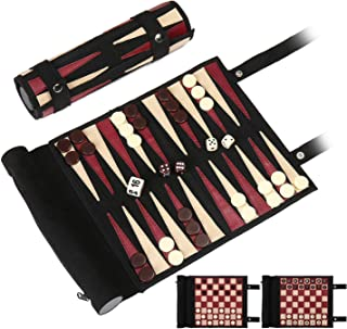 Woodronic Roll Up 3 in 1 Game Set, Backgammon Chess Checker Travel Game Set, Luxurious Suede Leather Travel Size with Gift Packaging, Black & Red