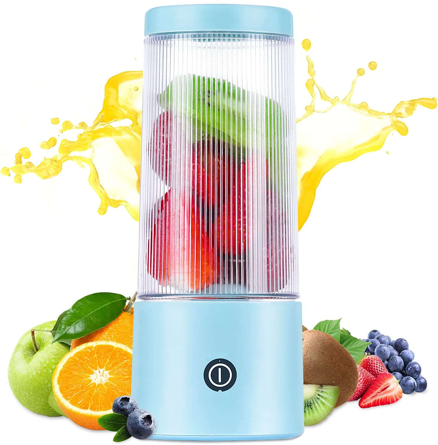 Portable Blender, HOPENE Personal Blender for Shakes and Smoothies, 12oz Fruit Juicer Bottle, Mini Blender Cup Portable USB Rechargeable for Travel Sports Office Gym and Outdoors