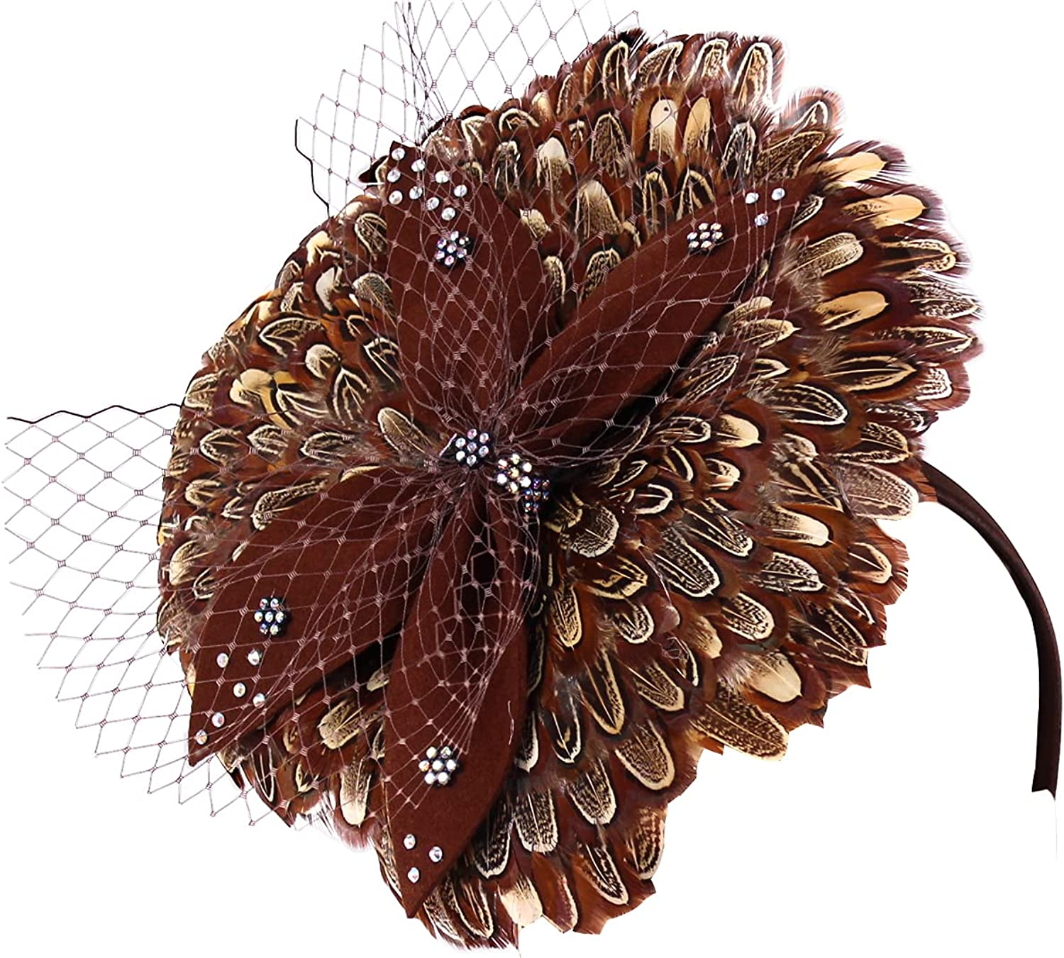 Limited Special Price All stores are sold Ms. Divine Collection Women's Feather Church Hats - Fascinator H