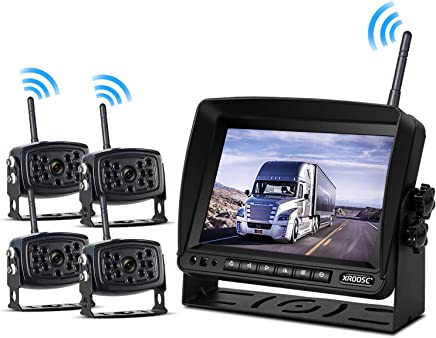 $369 » Wireless Backup Camera with Monitor System Split Screen for RV Rearview Reversing Back Camera No Interface IP69 Waterproof + Big 7'' Wireless Monitor for Truck Trailer Heavy Box Truck Motorhome …