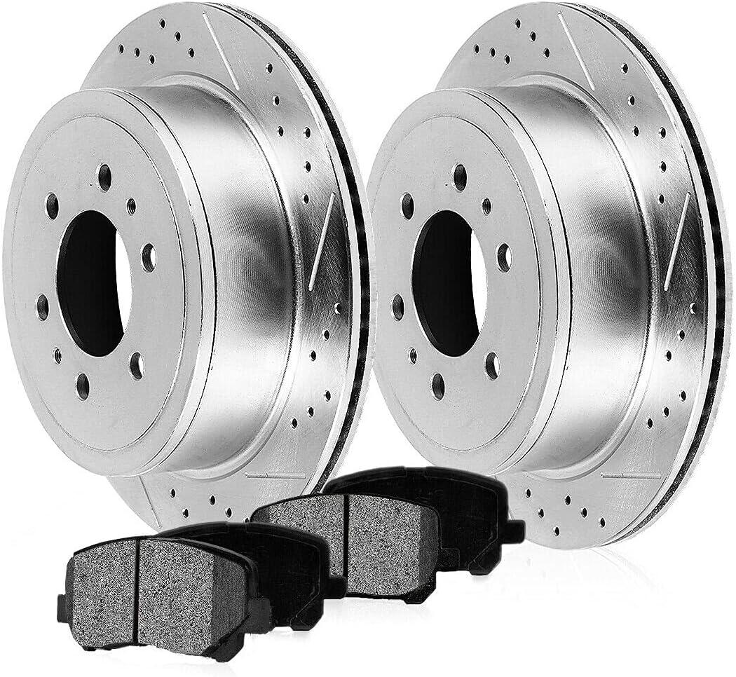 Excellent Rear Drill Slot Brake San Francisco Mall Rotors by BM9981755628 Metallic Pads AI