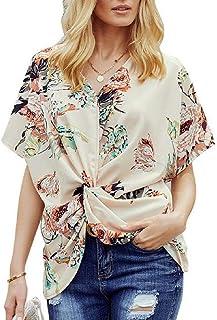 Zantt Women's Floral Print Twist Knot Front Casual V Neck Blouse T Shirt Tops