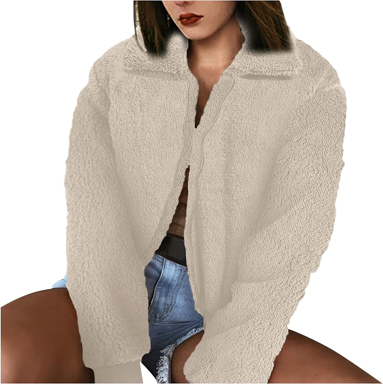 Tenworld Women's Jacket Lapel Fleece Long Sleeve Cropped Jacket Zipper Oversized Coat