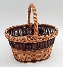 Panier /à provisions Portable housesweet Panier Avant en Osier Vintage avec Couvercle en Cuir poign/ées