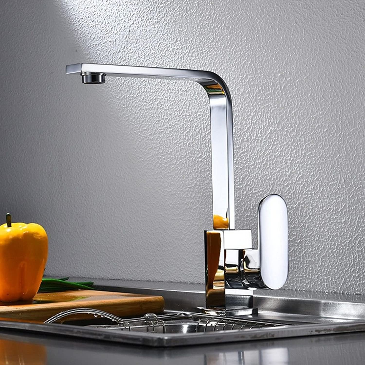 Kitchen faucet, copper seven-word single-connected, redatable hot and cold water mixer