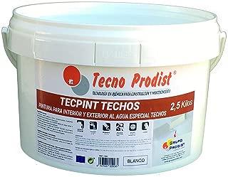 TECPINT TECHOS de Tecno Prodist - 2,5 Kg - Pintura para Exterior e Interior al Agua especial techos - Buena Calidad - Lavable - Fácil Aplicación - (BLANCO)