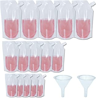 15pcs Concealable Collapsible Liquor Bags With 2 Funnel, 3 Sizes-32 oz., 16 oz., 8 oz., YSLF Flasks Reusable Foldable Eco-Friendly Water Bottle
