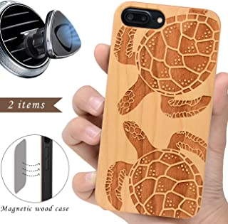 iProductsUS Wood Phone Case Compatible with iPhone 8 Plus, 7 Plus, 6 Plus, 6s Plus and Magnetic Mount, Protective Cases Engraved Turtles,Built in Metal Plate,TPU Rubber Protective Cover (5.5 inch)