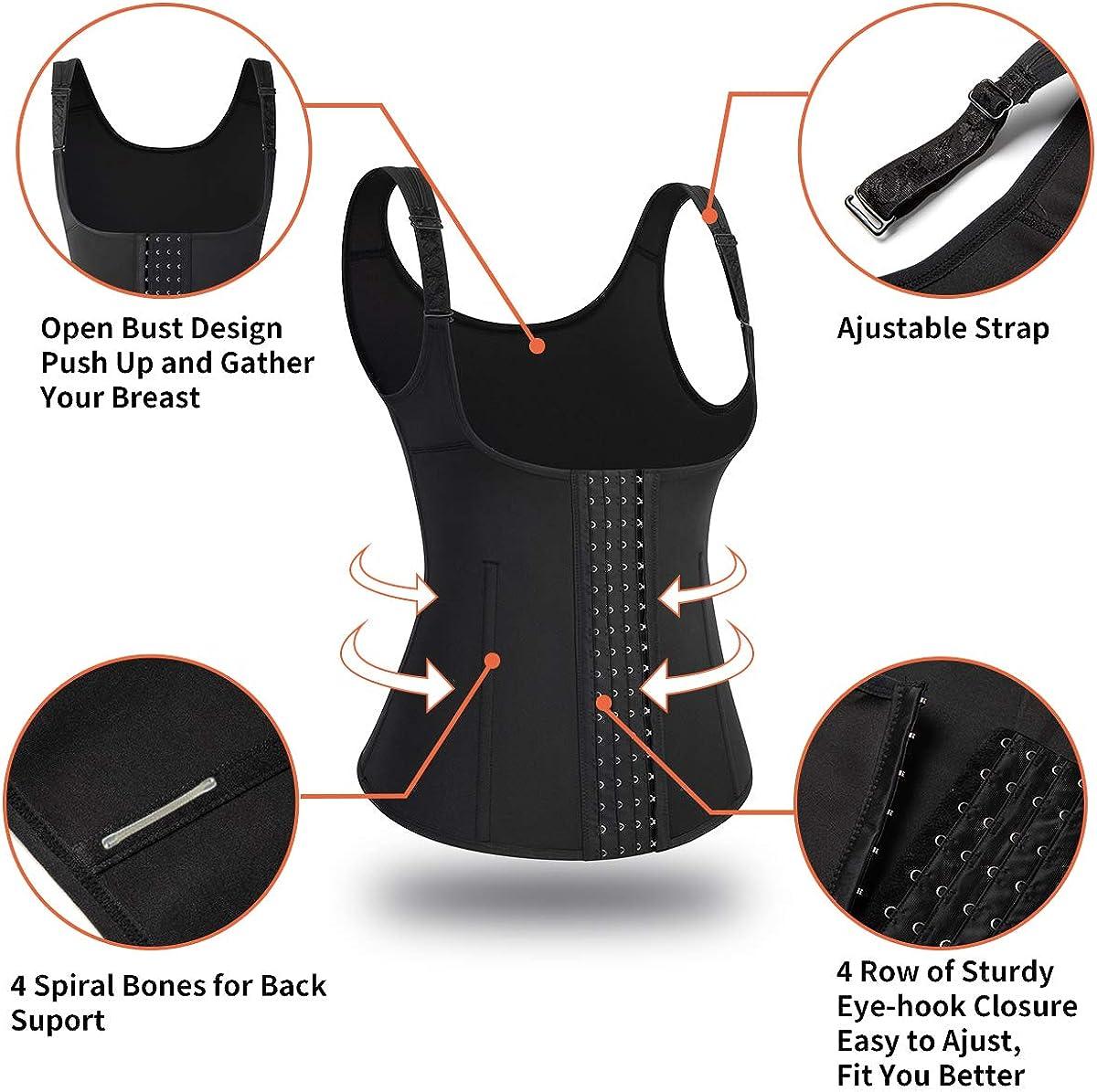 SHAPERIN Neoprene Sauna Sweat Waist Trainer Vest Slimming Body Shaper Waist Trimmer Tank Top with Belt for Women