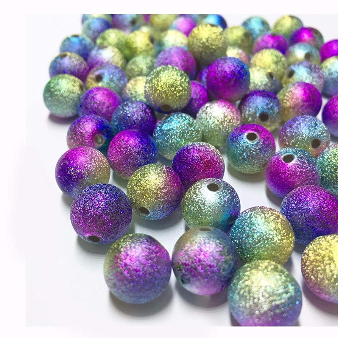 Round Stardust Beads Colorful Lava Gemstone Matte Textured Rainbow Aura Titanium Coated (6mm / 8mm / 12mm / 18mm) Energy Stone Healing Power for Jewelry Making