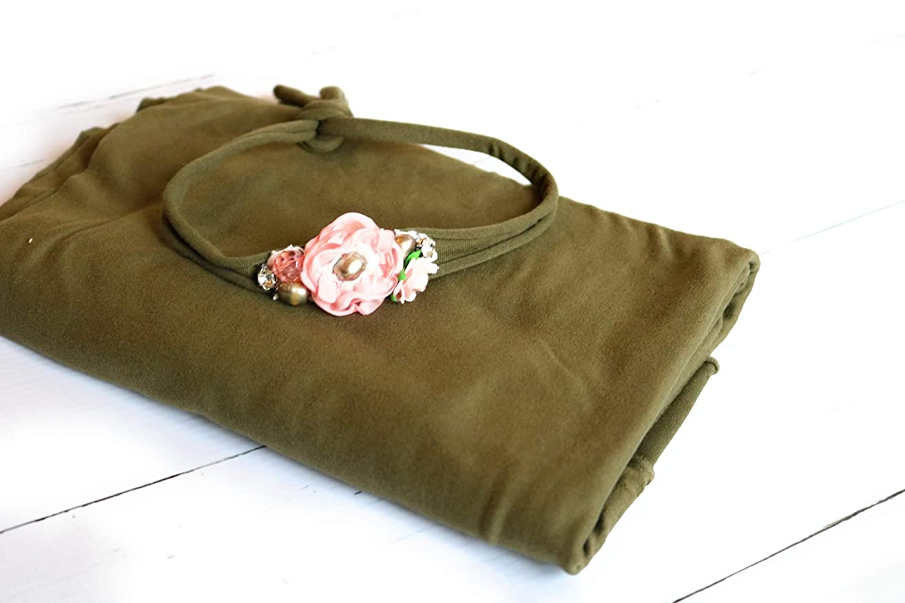 Handmade olive green newborn tieback headband and wrap set, baby girl tie back photography prop, vintage inspired u.s. located