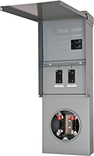 Siemens TL77RB Talon Temporary Power Outlet Panel with Two 20A Duplex Receptacles Installed Includes a Bottom Fed, Ringless Type, Meter Socket Provision