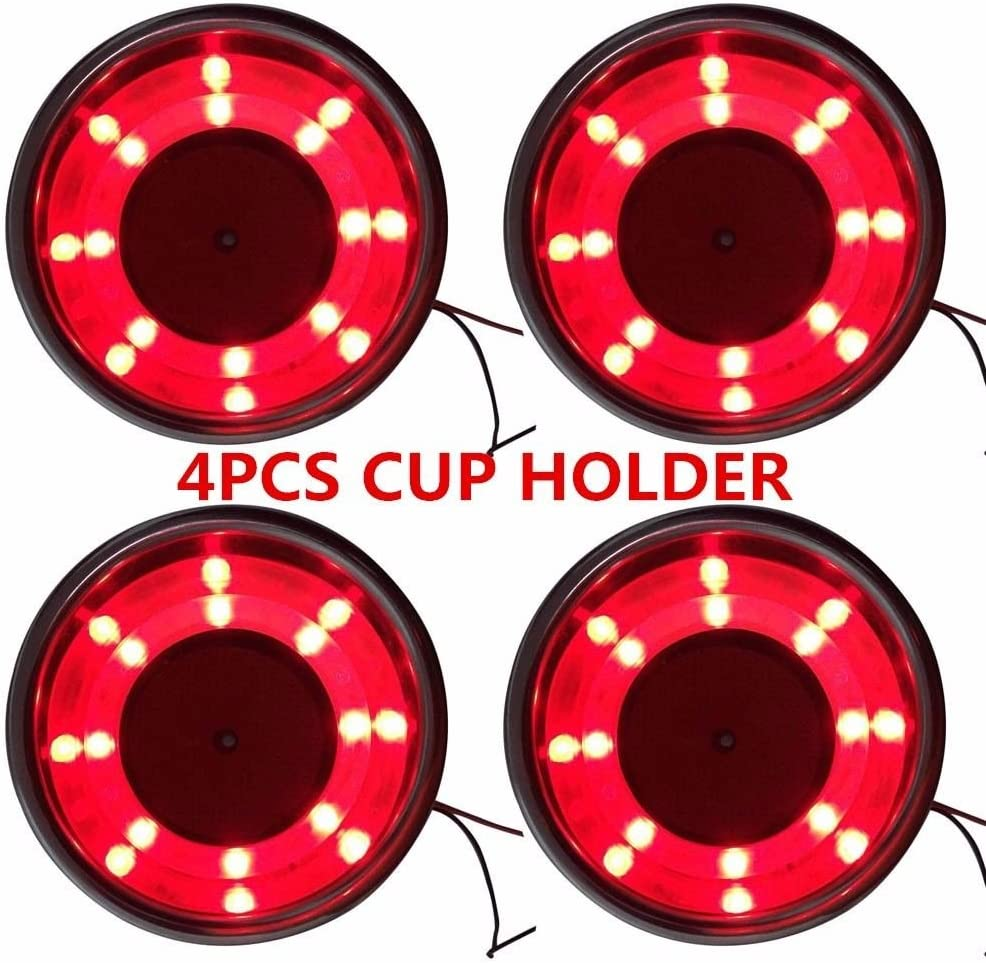 Amruta2015 4Pcs Stainless Steel Cup Drink free shipping Max 40% OFF 8 Holder LED Red Built
