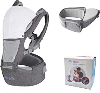 DaDa Hip Seat Baby Carrier, safety certified, all season mesh light backpack and detachable waist carrier for newborns, to...