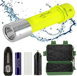 Reiled Diving Flashlight, Supper Bright LED Diving Light Submarine Light Scuba Safety Light Waterproof Underwater Torch Used for Scuba Diving or Other Underwater Activities and Outdoor Activities