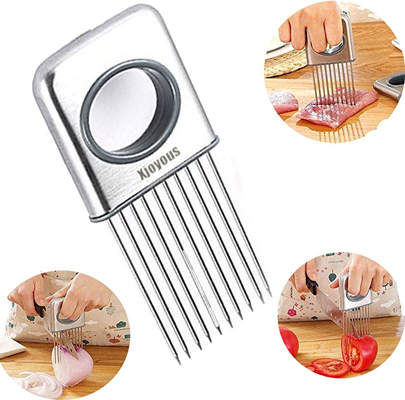Xjoyous Onion Holder Vegetable Potato Cutter Slicer Gadget Stainless Steel Fork Slicing Odor Remover Kitchen Tool Aid Gadget Cutting Chopper Stainless Steel