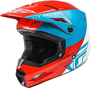 FLY Racing Kinetic Straight Edge Helmet, Full-Face Helmet for Motocross, Off-road, ATV, UTV, Bicycle and More RED/WHITE/BL...